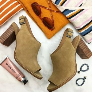Madewell Taupe Suede Slingback Block Heel Sandals
